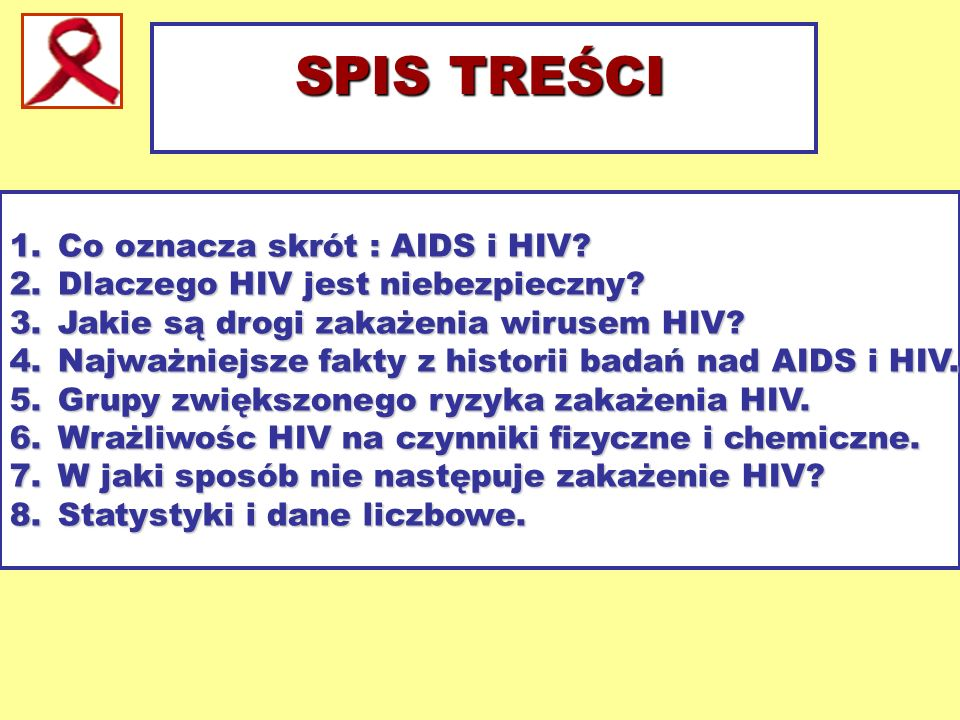 1.Co oznacza skrót : AIDS i HIV? 2.Dlaczego HIV jest niebezpieczny? 3.Jakie są drogi zakażenia wirusem HIV? 4.Najważniejsze fakty z historii badań nad
