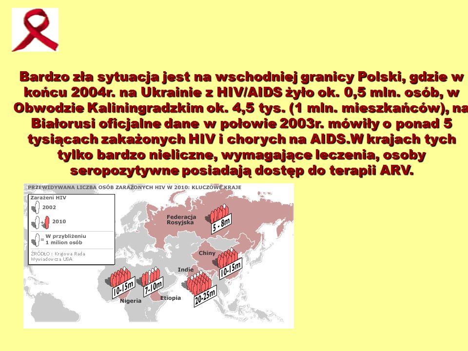 Bardzo zła sytuacja jest na wschodniej granicy Polski, gdzie w końcu 2004r. na Ukrainie z HIV/AIDS żyło ok. 0,5 mln. osób, w Obwodzie Kaliningradzkim