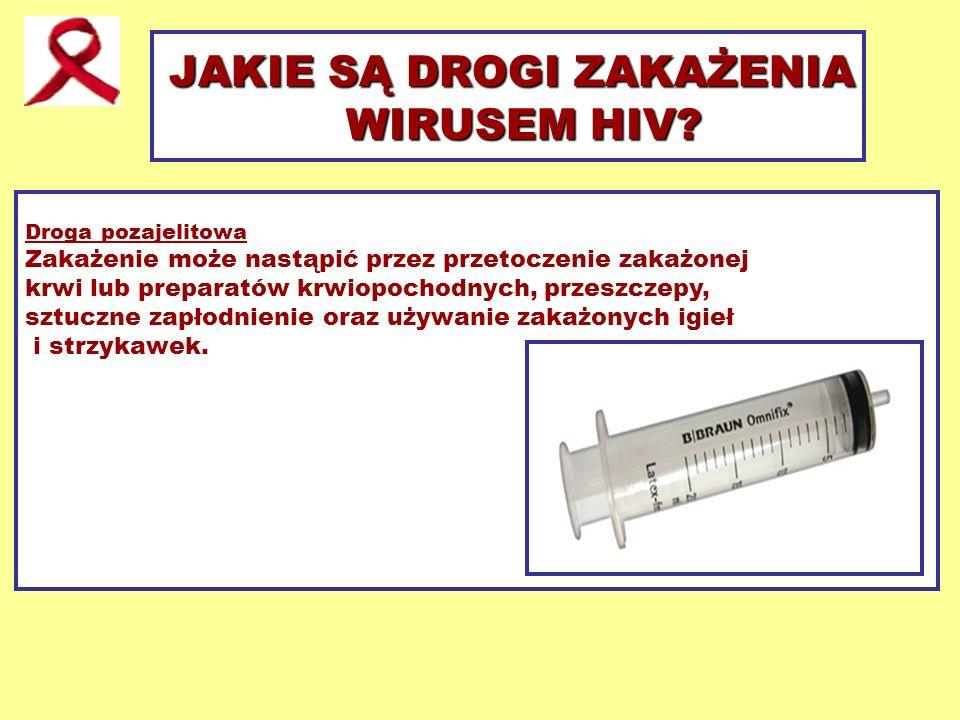 JAKIE SĄ DROGI ZAKAŻENIA WIRUSEM HIV? Droga pozajelitowa Zakażenie może nastąpić przez przetoczenie zakażonej krwi lub preparatów krwiopochodnych, prz