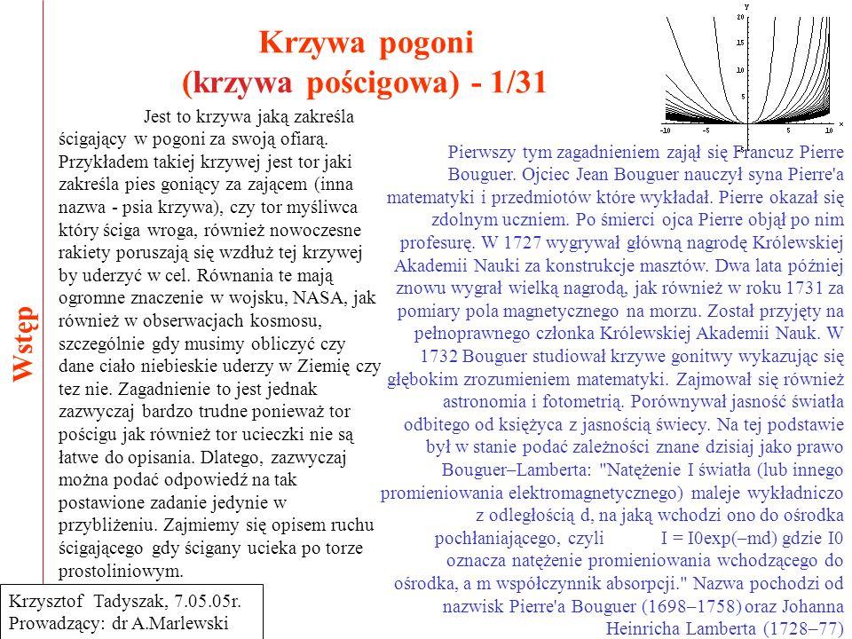 Krzywa pogoni (krzywa pościgowa) - 12/31 Rozwiązywanie całek 3/3 Krzysztof Tadyszak, 7.05.05r.