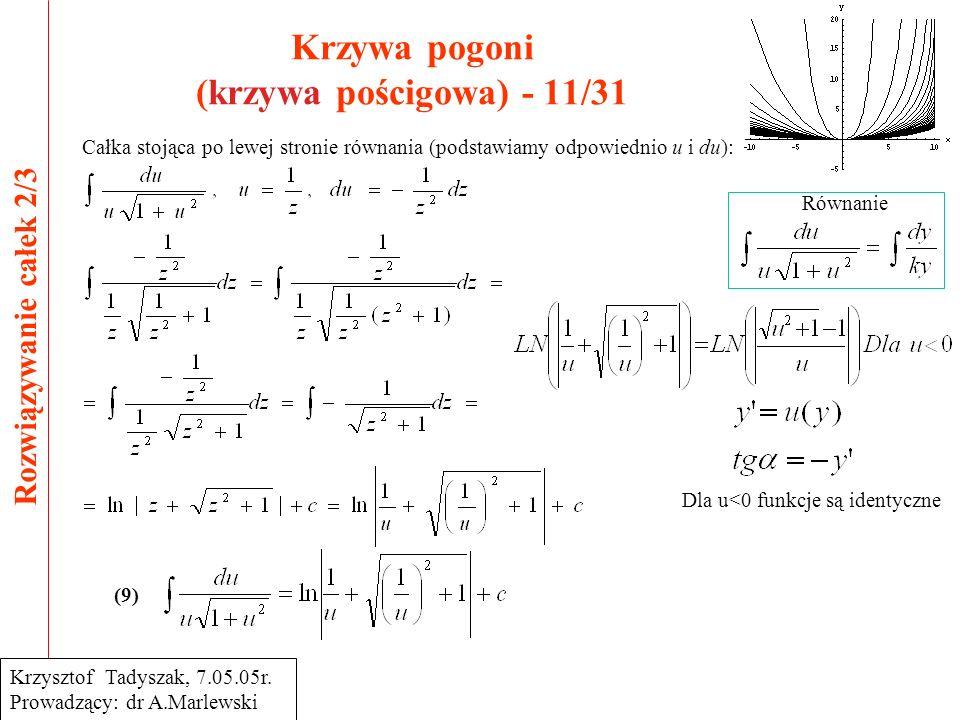 Krzywa pogoni (krzywa pościgowa) - 11/31 Rozwiązywanie całek 2/3 Krzysztof Tadyszak, 7.05.05r.