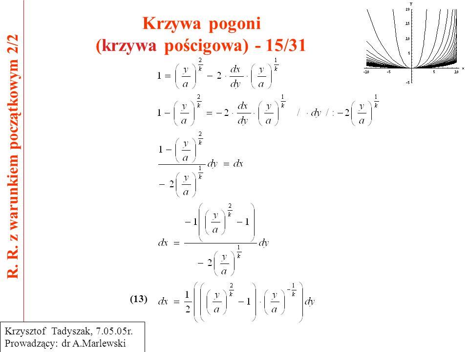 Krzywa pogoni (krzywa pościgowa) - 15/31 R. R. z warunkiem początkowym 2/2 Krzysztof Tadyszak, 7.05.05r. Prowadzący: dr A.Marlewski (13)