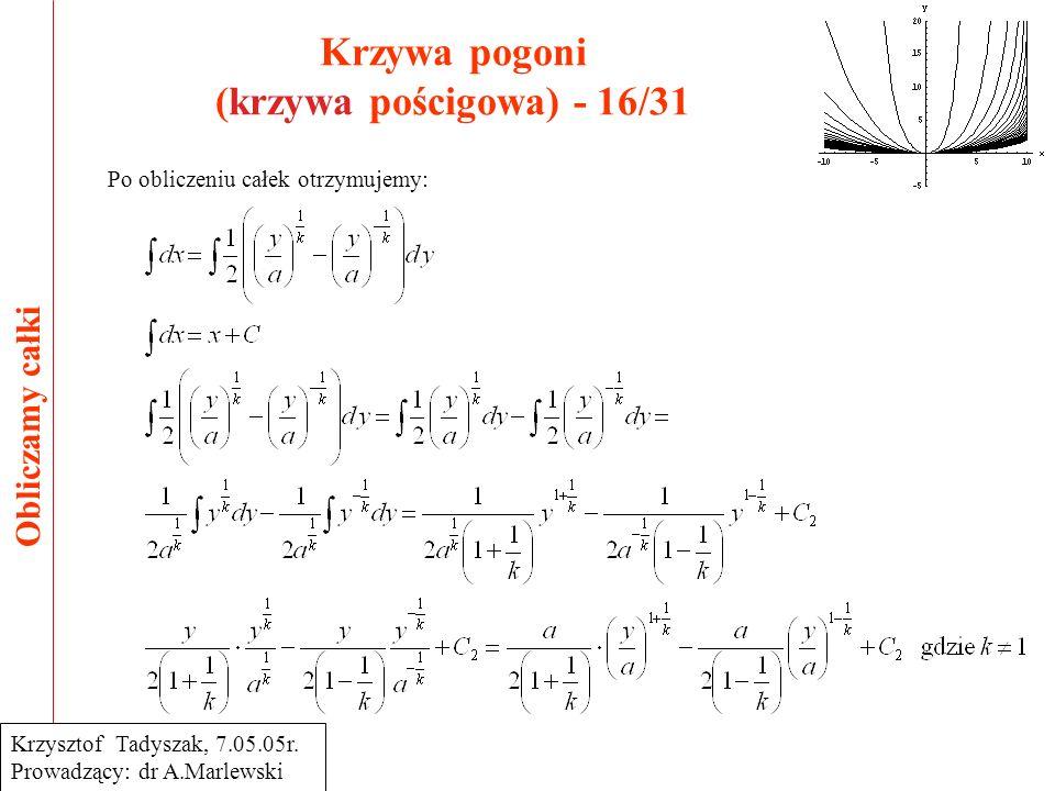 Krzywa pogoni (krzywa pościgowa) - 16/31 Obliczamy całki Krzysztof Tadyszak, 7.05.05r. Prowadzący: dr A.Marlewski Po obliczeniu całek otrzymujemy:
