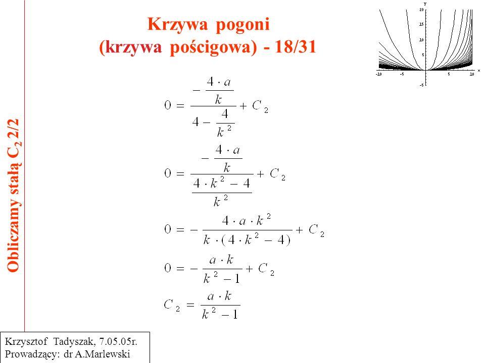 Krzywa pogoni (krzywa pościgowa) - 18/31 Obliczamy stałą C 2 2/2 Krzysztof Tadyszak, 7.05.05r. Prowadzący: dr A.Marlewski
