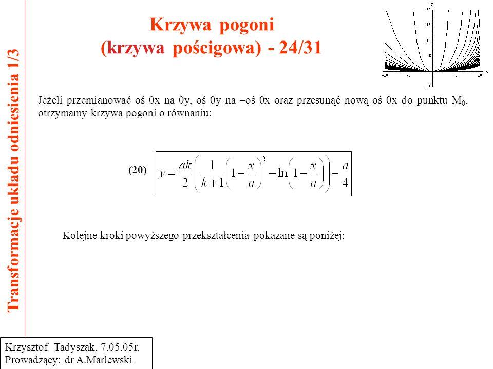 Krzywa pogoni (krzywa pościgowa) - 24/31 Transformacje układu odniesienia 1/3 Krzysztof Tadyszak, 7.05.05r.