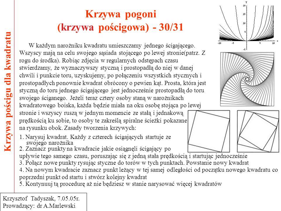 Krzywa pogoni (krzywa pościgowa) - 30/31 Krzywa pościgu dla kwadratu Krzysztof Tadyszak, 7.05.05r. Prowadzący: dr A.Marlewski W każdym narożniku kwadr
