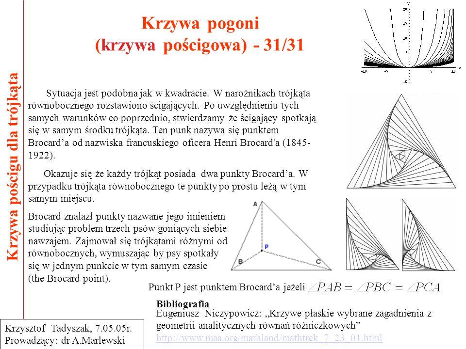 Krzywa pogoni (krzywa pościgowa) - 31/31 Krzywa pościgu dla trójkąta Krzysztof Tadyszak, 7.05.05r. Prowadzący: dr A.Marlewski Sytuacja jest podobna ja