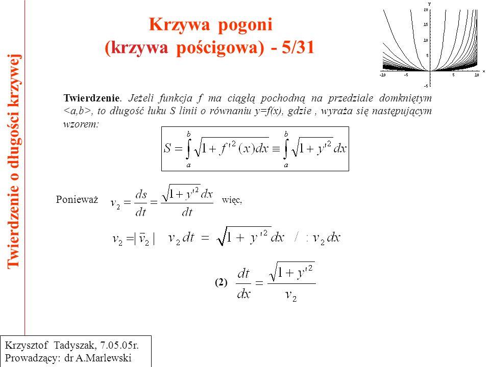 Krzywa pogoni (krzywa pościgowa) - 5/31 Twierdzenie o długości krzywej Krzysztof Tadyszak, 7.05.05r. Prowadzący: dr A.Marlewski Twierdzenie. Jeżeli fu