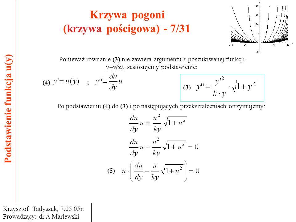 Krzywa pogoni (krzywa pościgowa) - 7/31 Podstawienie funkcja u(y) Krzysztof Tadyszak, 7.05.05r.
