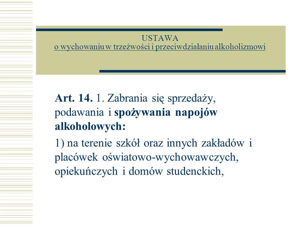 USTAWA o wychowaniu w trzeźwości i przeciwdziałaniu alkoholizmowi o wychowaniu w trzeźwości i przeciwdziałaniu alkoholizmowi Art. 14. 1. Zabrania się