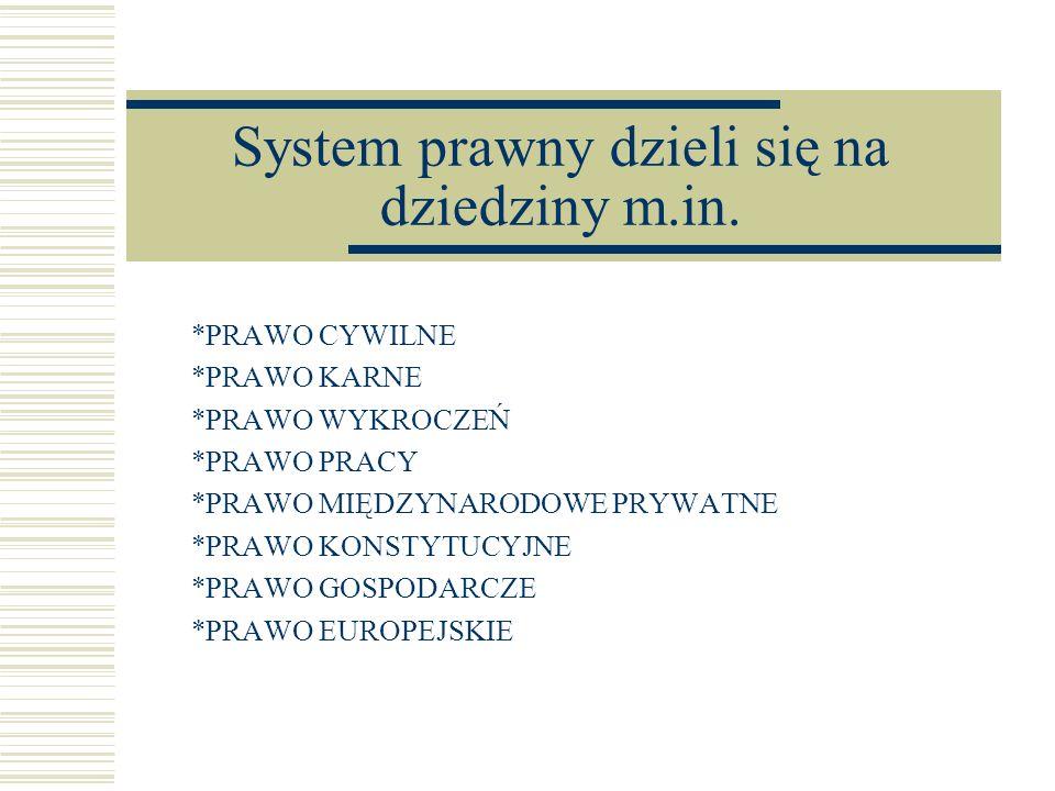 System prawny dzieli się na dziedziny m.in. *PRAWO CYWILNE *PRAWO KARNE *PRAWO WYKROCZEŃ *PRAWO PRACY *PRAWO MIĘDZYNARODOWE PRYWATNE *PRAWO KONSTYTUCY