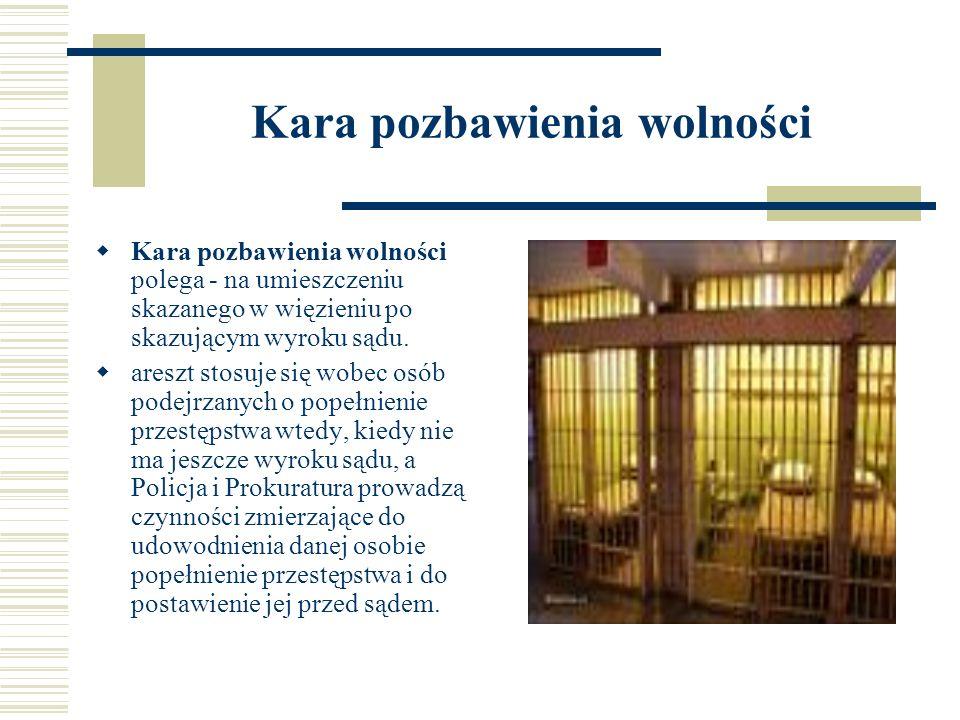 Kara pozbawienia wolności Kara pozbawienia wolności polega - na umieszczeniu skazanego w więzieniu po skazującym wyroku sądu. areszt stosuje się wobec