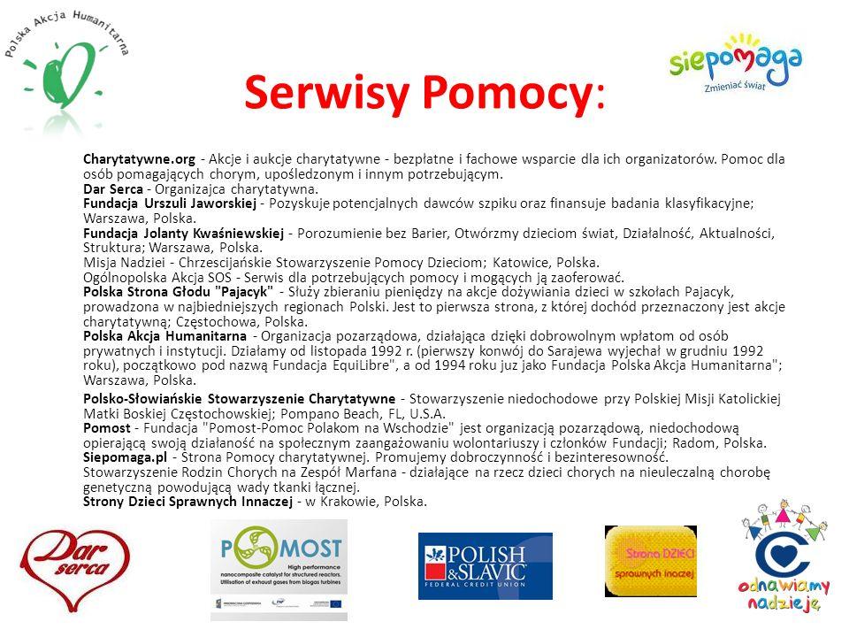Serwisy Pomocy: Charytatywne.org - Akcje i aukcje charytatywne - bezpłatne i fachowe wsparcie dla ich organizatorów. Pomoc dla osób pomagających chory