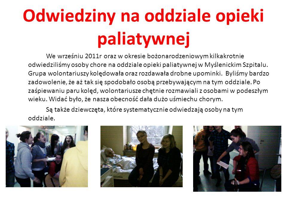 Odwiedziny na oddziale opieki paliatywnej We wrześniu 2011r oraz w okresie bożonarodzeniowym kilkakrotnie odwiedziliśmy osoby chore na oddziale opieki
