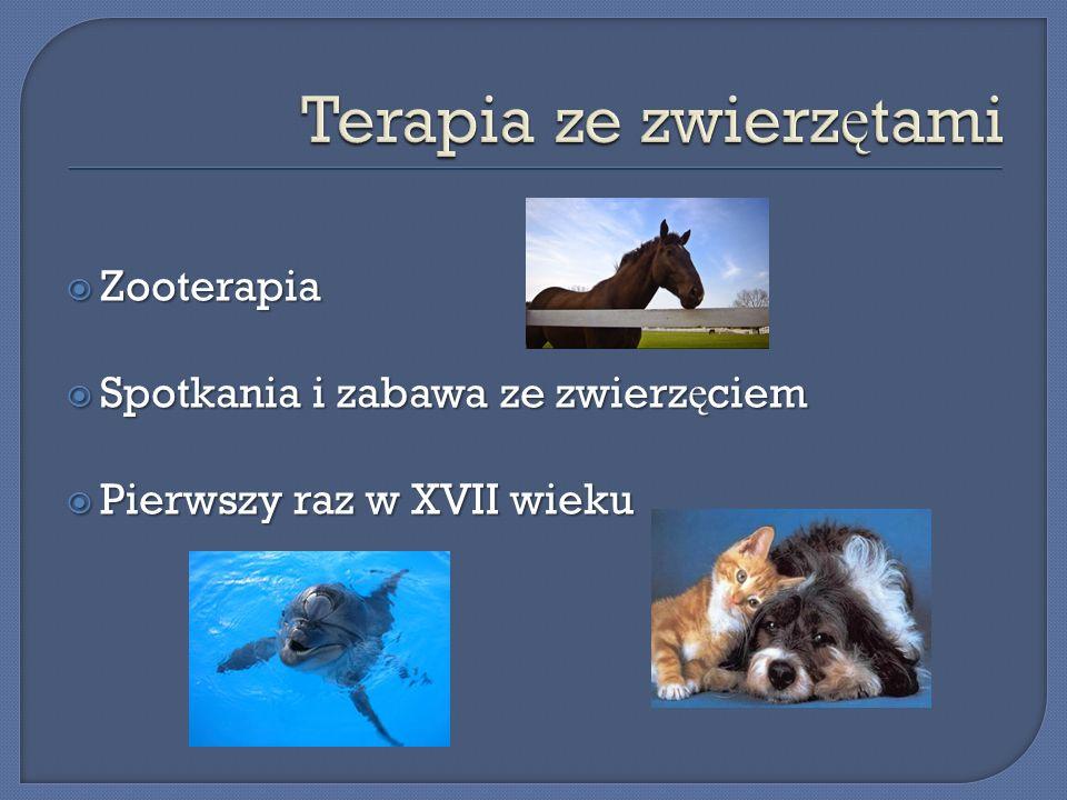 Zooterapia Zooterapia Spotkania i zabawa ze zwierz ę ciem Spotkania i zabawa ze zwierz ę ciem Pierwszy raz w XVII wieku Pierwszy raz w XVII wieku