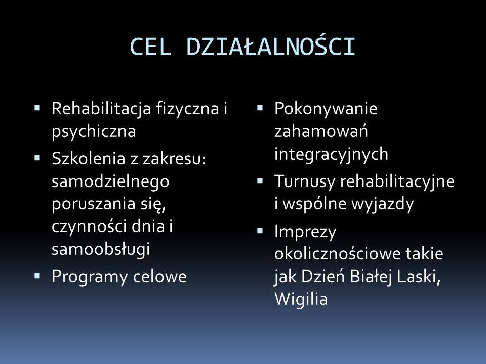 CEL DZIAŁALNOŚCI Rehabilitacja fizyczna i psychiczna Szkolenia z zakresu: samodzielnego poruszania się, czynności dnia i samoobsługi Programy celowe P