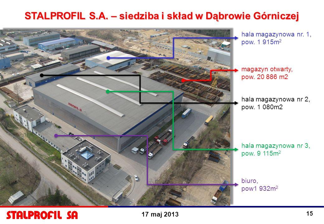 17 maj 2013 15 magazyn otwarty, pow. 20 886 m2 hala magazynowa nr. 1, pow. 1 915m 2 hala magazynowa nr 2, pow. 1 080m2 hala magazynowa nr 3, pow. 9 11