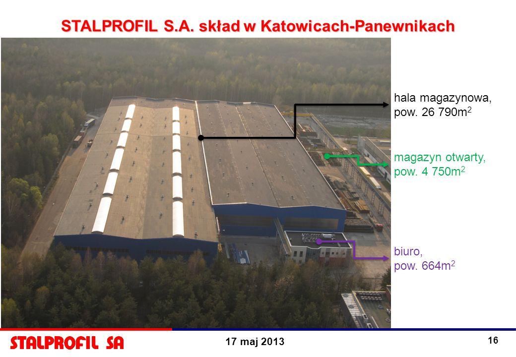 17 maj 2013 16 hala magazynowa, pow. 26 790m 2 magazyn otwarty, pow. 4 750m 2 biuro, pow. 664m 2 STALPROFIL S.A. skład w Katowicach-Panewnikach