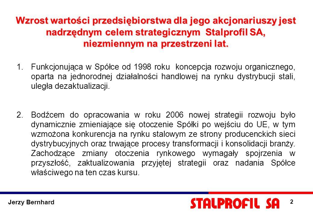 2 Wzrost wartości przedsiębiorstwa dla jego akcjonariuszy jest nadrzędnym celem strategicznym Stalprofil SA, niezmiennym na przestrzeni lat. 1.Funkcjo