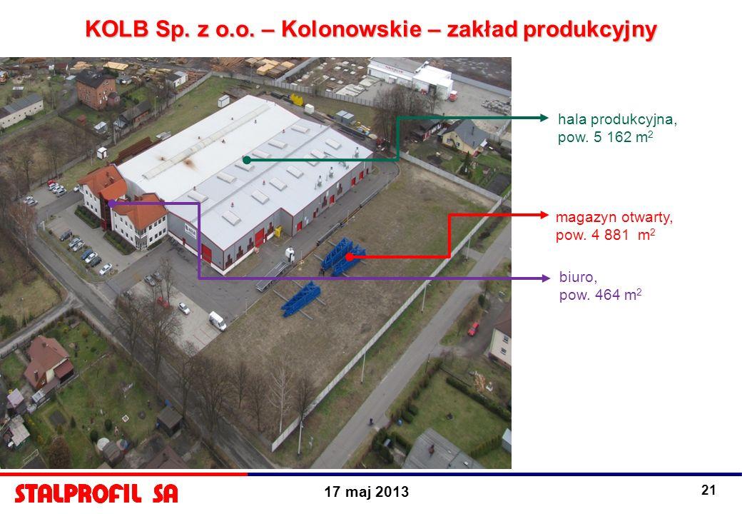 17 maj 2013 21 KOLB Sp. z o.o. – Kolonowskie – zakład produkcyjny hala produkcyjna, pow. 5 162 m 2 magazyn otwarty, pow. 4 881 m 2 biuro, pow. 464 m 2