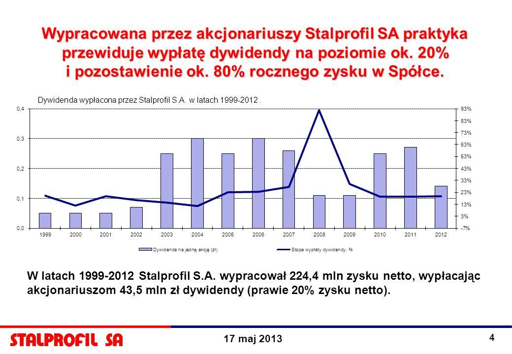 17 maj 2013 4 Wypracowana przez akcjonariuszy Stalprofil SA praktyka przewiduje wypłatę dywidendy na poziomie ok. 20% i pozostawienie ok. 80% rocznego
