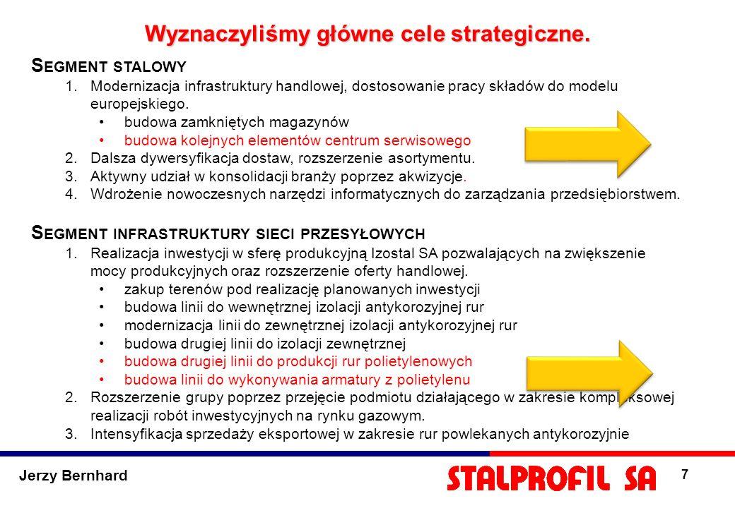 Jerzy Bernhard 7 Wyznaczyliśmy główne cele strategiczne. S EGMENT STALOWY 1.Modernizacja infrastruktury handlowej, dostosowanie pracy składów do model