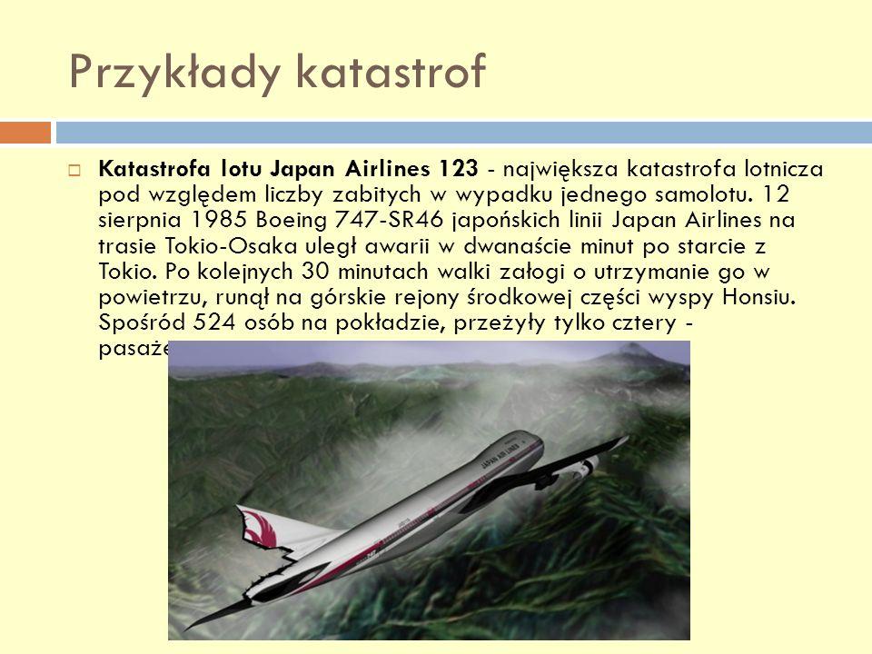 Przykłady katastrof Katastrofa lotu Japan Airlines 123 - największa katastrofa lotnicza pod względem liczby zabitych w wypadku jednego samolotu. 12 si