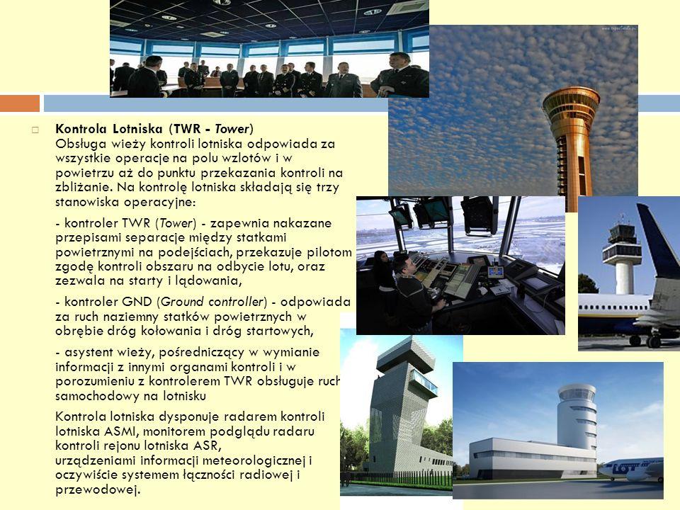 Kontrola Lotniska (TWR - Tower) Obsługa wieży kontroli lotniska odpowiada za wszystkie operacje na polu wzlotów i w powietrzu aż do punktu przekazania