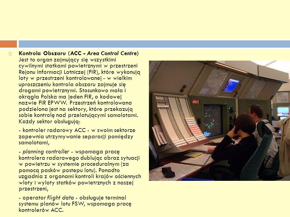 Kontrola Obszaru (ACC - Area Control Centre) Jest to organ zajmujący się wszystkimi cywilnymi statkami powietrznymi w przestrzeni Rejonu Informacji Lo