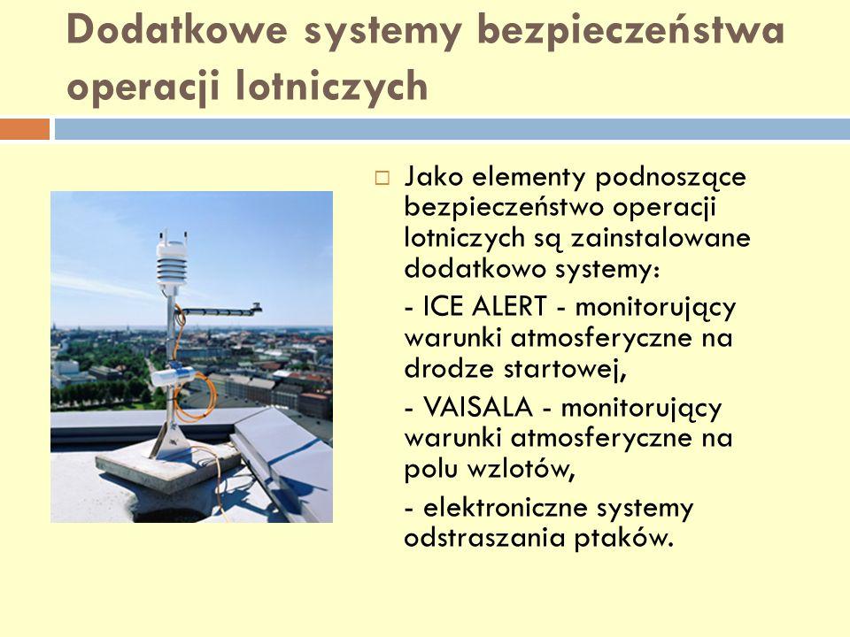 Dodatkowe systemy bezpieczeństwa operacji lotniczych Jako elementy podnoszące bezpieczeństwo operacji lotniczych są zainstalowane dodatkowo systemy: -
