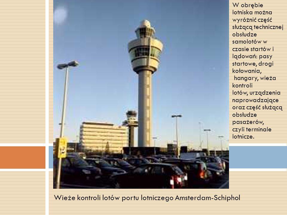 W obrębie lotniska można wyróżnić część służącą technicznej obsłudze samolotów w czasie startów i lądowań: pasy startowe, drogi kołowania, hangary, wi