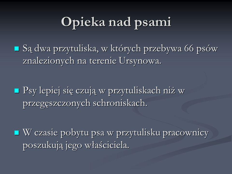 Opieka nad psami Są dwa przytuliska, w których przebywa 66 psów znalezionych na terenie Ursynowa. Są dwa przytuliska, w których przebywa 66 psów znale