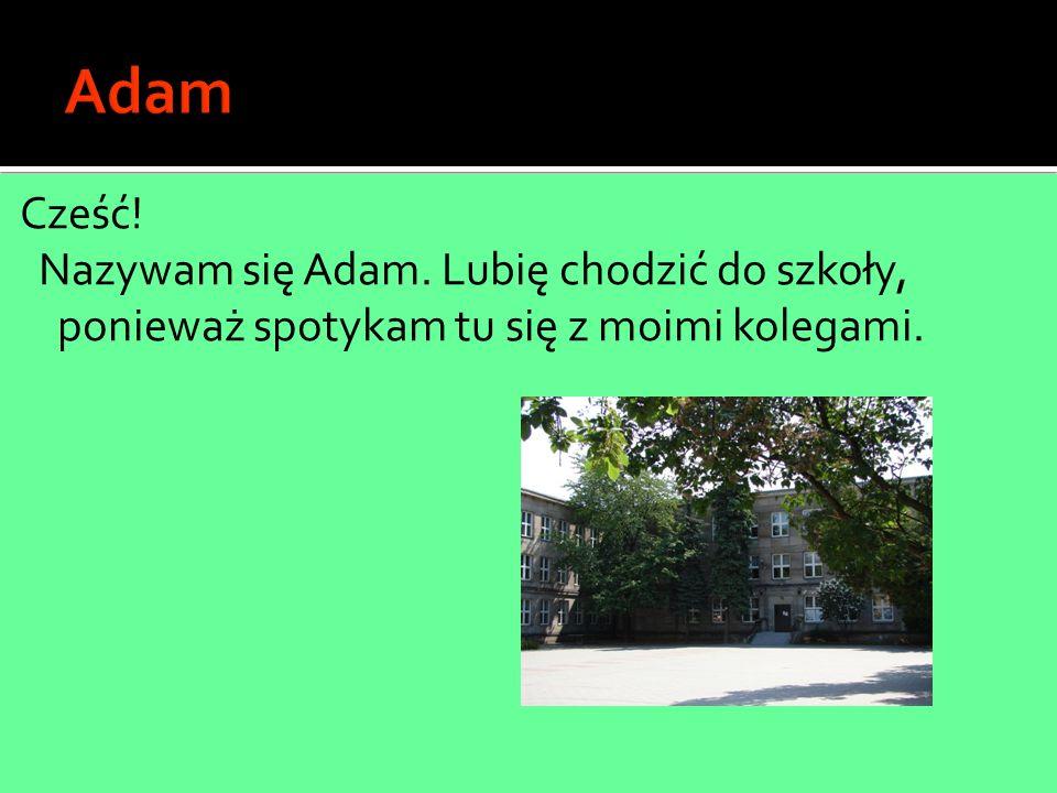 Cześć! Nazywam się Adam. Lubię chodzić do szkoły, ponieważ spotykam tu się z moimi kolegami.