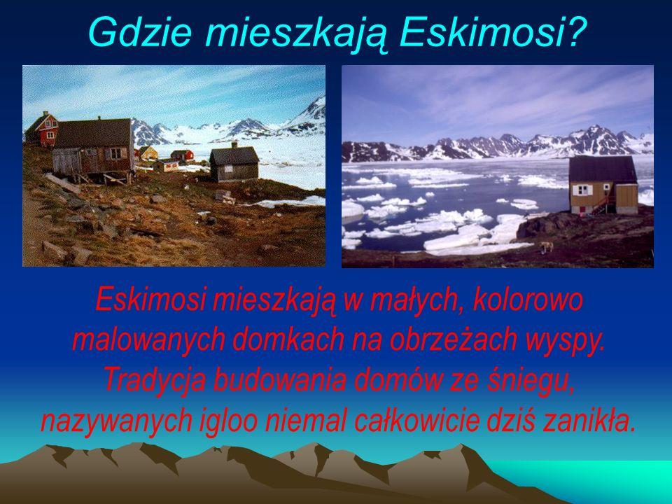 Eskimosi mieszkają w małych, kolorowo malowanych domkach na obrzeżach wyspy.