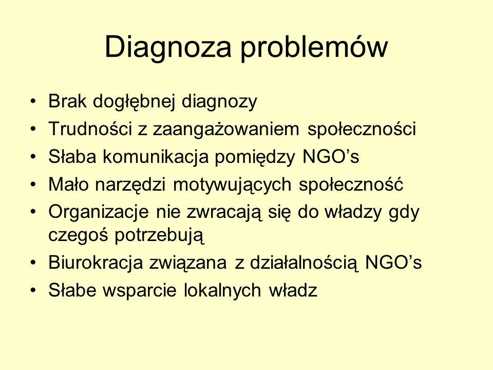 Diagnoza problemów Brak dogłębnej diagnozy Trudności z zaangażowaniem społeczności Słaba komunikacja pomiędzy NGOs Mało narzędzi motywujących społeczność Organizacje nie zwracają się do władzy gdy czegoś potrzebują Biurokracja związana z działalnością NGOs Słabe wsparcie lokalnych władz