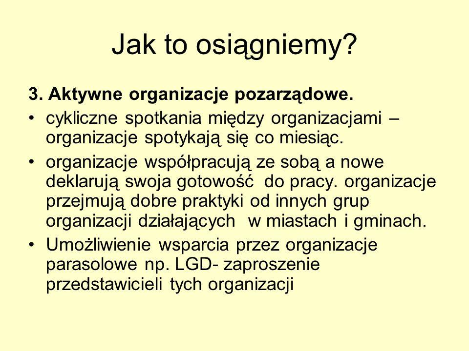 Jak to osiągniemy. 3. Aktywne organizacje pozarządowe.