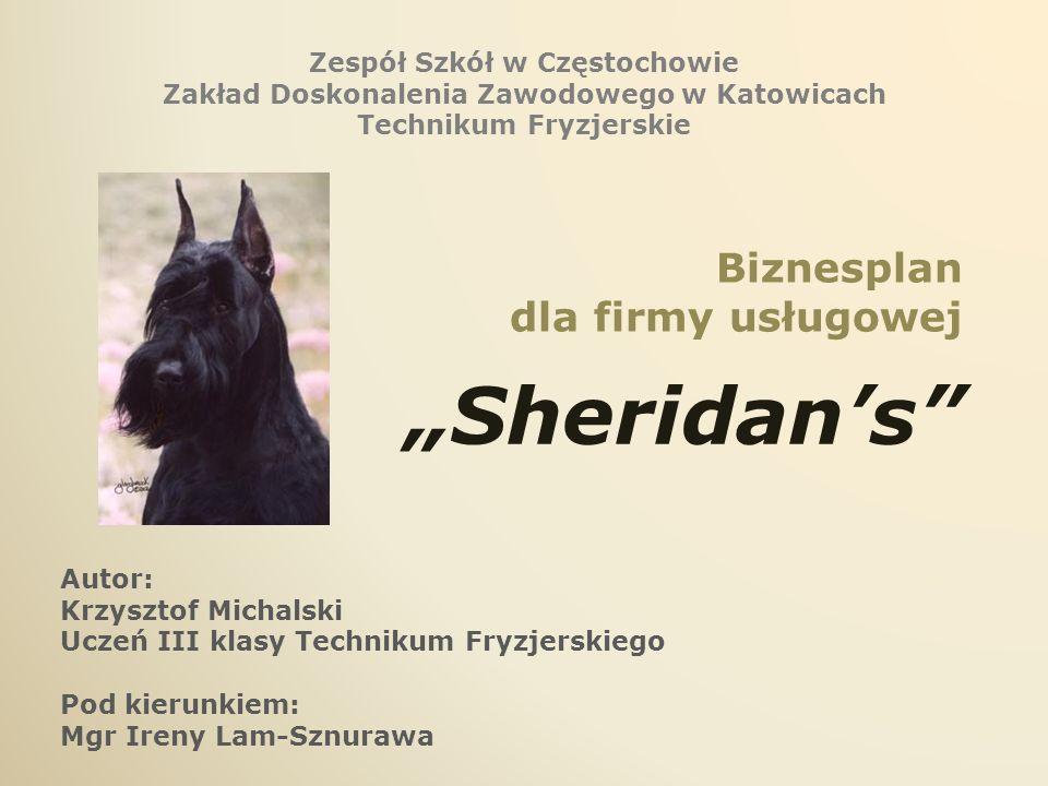 Biznesplan dla firmy usługowej Sheridans Zespół Szkół w Częstochowie Zakład Doskonalenia Zawodowego w Katowicach Technikum Fryzjerskie Autor: Krzyszto