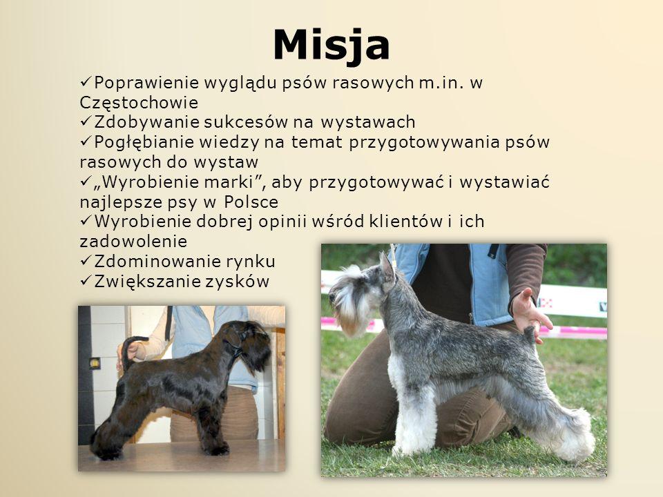 Misja Poprawienie wyglądu psów rasowych m.in. w Częstochowie Zdobywanie sukcesów na wystawach Pogłębianie wiedzy na temat przygotowywania psów rasowyc