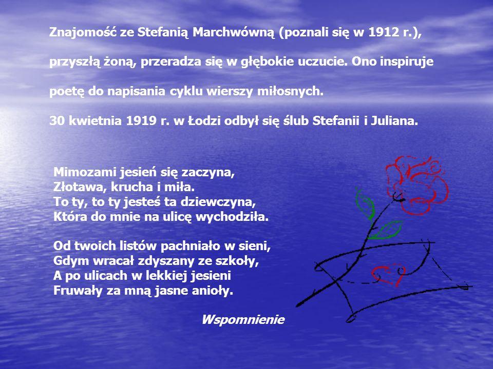 Znajomość ze Stefanią Marchwówną (poznali się w 1912 r.), przyszłą żoną, przeradza się w głębokie uczucie.