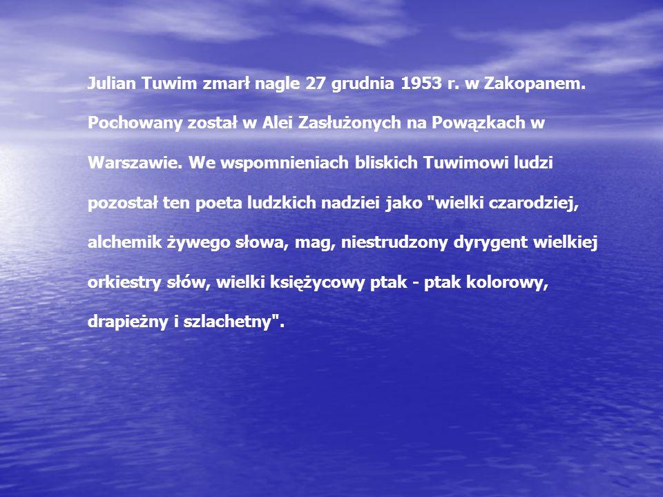 Julian Tuwim zmarł nagle 27 grudnia 1953 r.w Zakopanem.