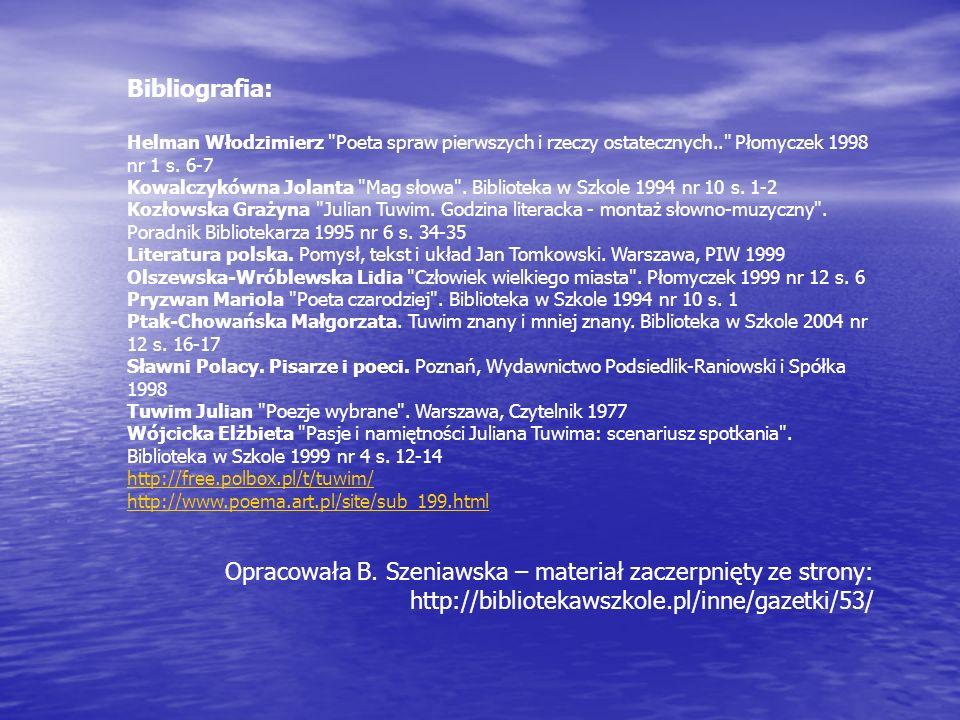 Bibliografia: Helman Włodzimierz Poeta spraw pierwszych i rzeczy ostatecznych.. Płomyczek 1998 nr 1 s.