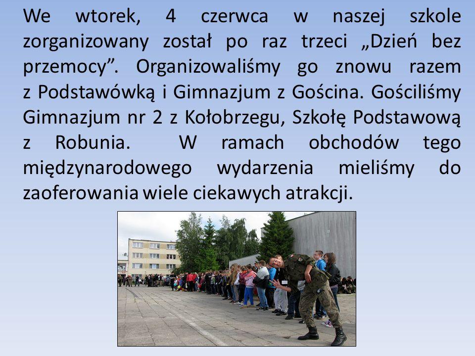 We wtorek, 4 czerwca w naszej szkole zorganizowany został po raz trzeci Dzień bez przemocy.