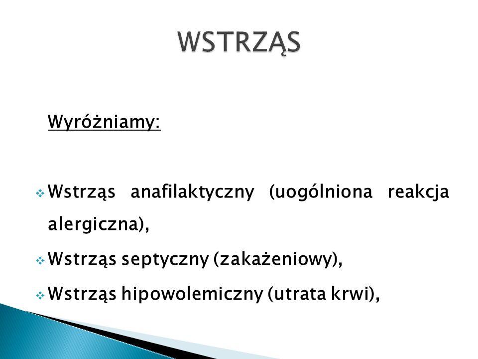 Wyróżniamy: Wstrząs anafilaktyczny (uogólniona reakcja alergiczna), Wstrząs septyczny (zakażeniowy), Wstrząs hipowolemiczny (utrata krwi),