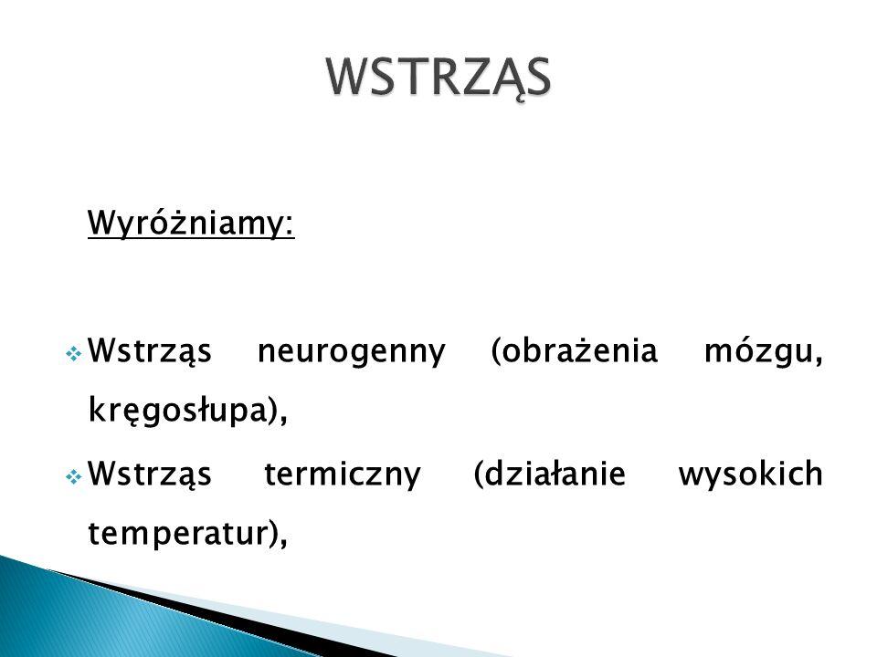 Wyróżniamy: Wstrząs neurogenny (obrażenia mózgu, kręgosłupa), Wstrząs termiczny (działanie wysokich temperatur),