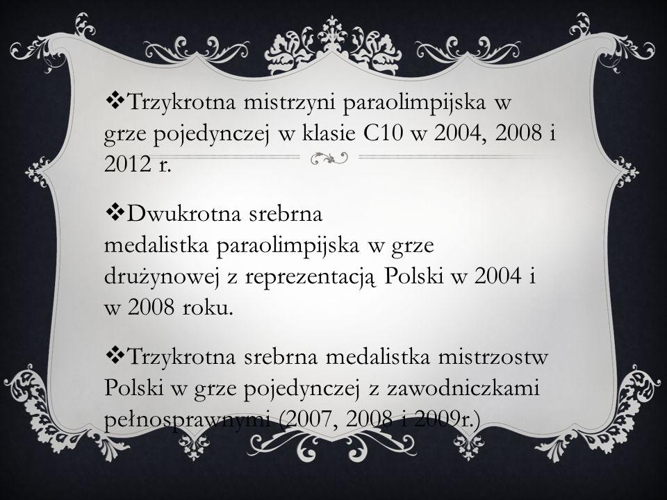 Trzykrotna mistrzyni paraolimpijska w grze pojedynczej w klasie C10 w 2004, 2008 i 2012 r. Dwukrotna srebrna medalistka paraolimpijska w grze drużynow