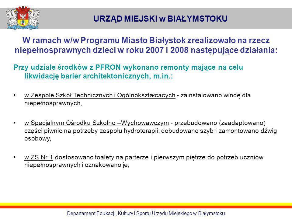 URZĄD MIEJSKI w BIAŁYMSTOKU Departament Edukacji, Kultury i Sportu Urzędu Miejskiego w Białymstoku W ramach w/w Programu Miasto Białystok zrealizowało