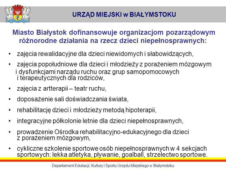 URZĄD MIEJSKI w BIAŁYMSTOKU Departament Edukacji, Kultury i Sportu Urzędu Miejskiego w Białymstoku Miasto Białystok dofinansowuje organizacjom pozarzą