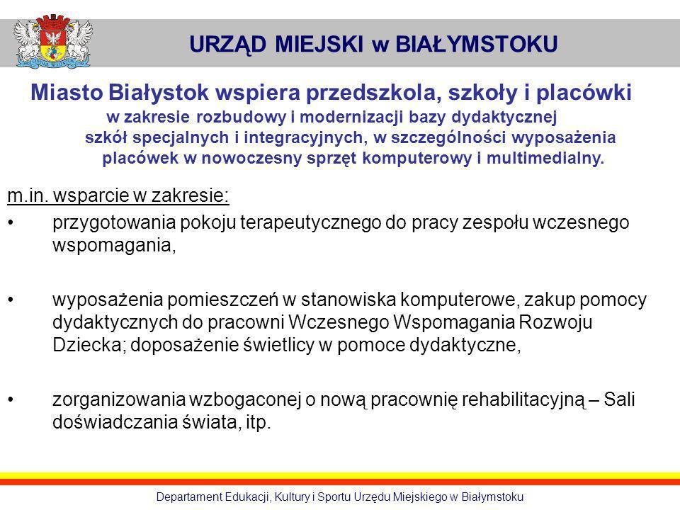 URZĄD MIEJSKI w BIAŁYMSTOKU Departament Edukacji, Kultury i Sportu Urzędu Miejskiego w Białymstoku Miasto Białystok wspiera przedszkola, szkoły i plac