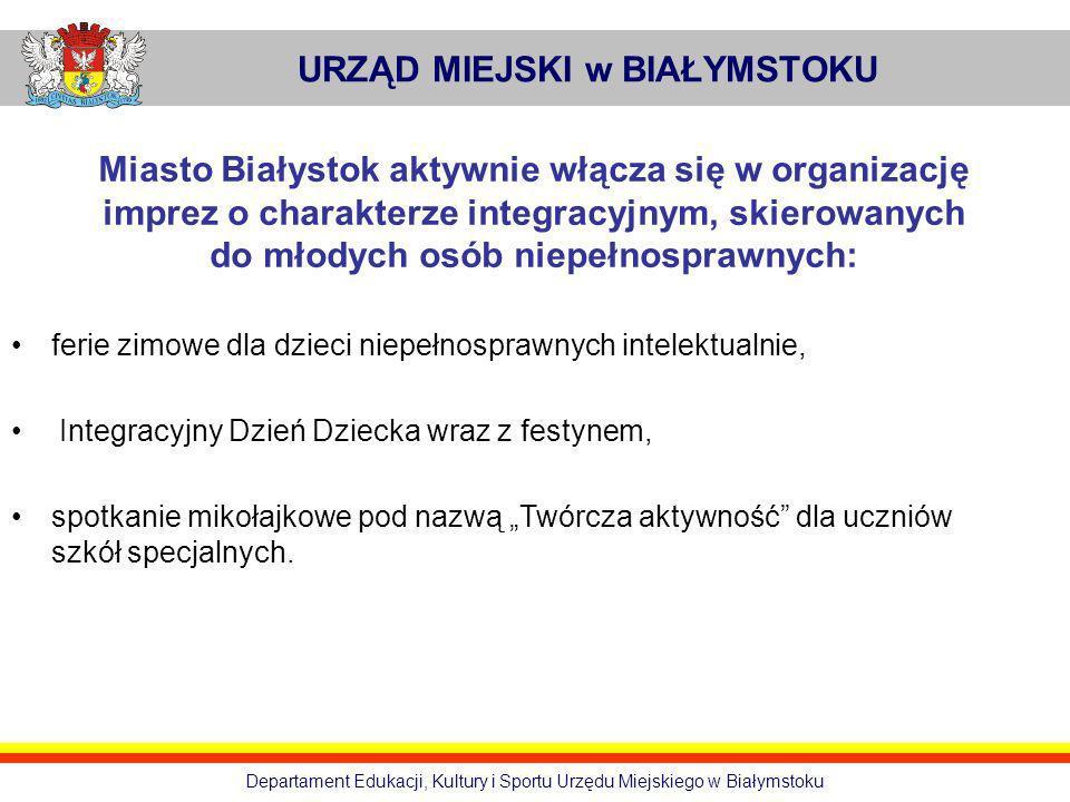 URZĄD MIEJSKI w BIAŁYMSTOKU Departament Edukacji, Kultury i Sportu Urzędu Miejskiego w Białymstoku Miasto Białystok aktywnie włącza się w organizację
