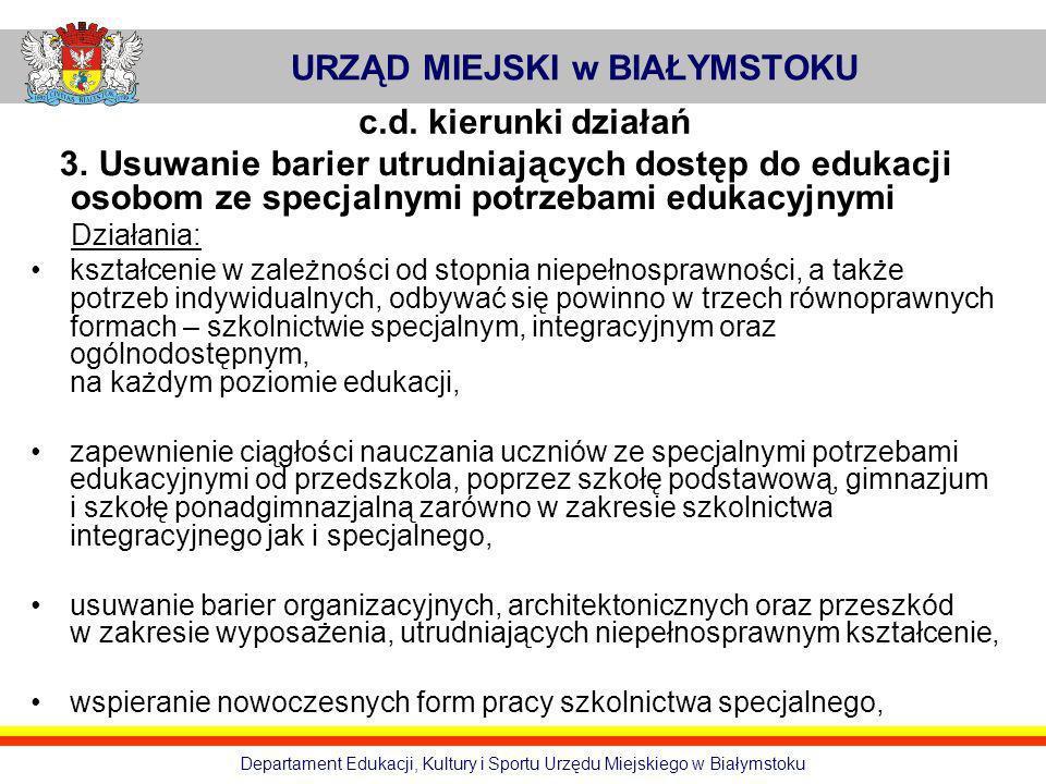 URZĄD MIEJSKI w BIAŁYMSTOKU Departament Edukacji, Kultury i Sportu Urzędu Miejskiego w Białymstoku c.d. kierunki działań 3. Usuwanie barier utrudniają